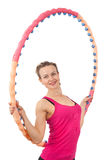 Athletic young woman with circle Stock Photography