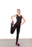 Athletic young woman with doing exercises Royalty Free Stock Images