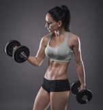 Athletic young woman doing a fitness workout with dumbbells on g Stock Images