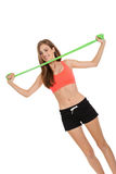 Athletic young woman doing workout with physio tape latex tape Stock Photography