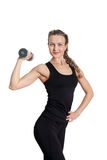 Athletic young woman with dumbbell Royalty Free Stock Photography