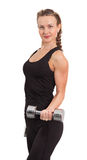Athletic young woman with dumbbell Stock Images