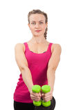 Athletic young woman with dumbbells Royalty Free Stock Photography