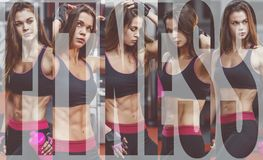 Athletic young woman after hard workout at gym. Fitness girl holds shaker with sportive nutrition. Collage of photo. Athletic young woman after hard workout at royalty free stock image