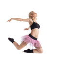 Athletic young woman jump in dance isolated Royalty Free Stock Photos