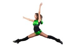 Athletic young woman jumping Royalty Free Stock Photos