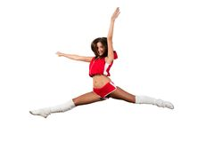 Athletic young woman jumping Stock Images