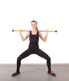 Athletic young woman with pole Royalty Free Stock Photo