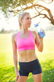 Athletic young woman runner drinking water Royalty Free Stock Images