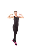 Athletic young woman showing biceps Royalty Free Stock Photos