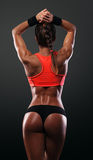 Athletic young woman showing muscles of the back. And hands on a isolated black background Stock Image