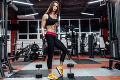 Athletic young woman showing muscles after workout in gym. stock images