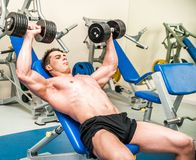 Athletically built sportsman in the gym Royalty Free Stock Photo