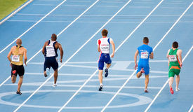 Athletics 100m. Christophe Lemaitre (center) competes on the Men 100 m during the 20th European Athletics Championships at the Olympic Stadium on July 27, 2010 Stock Photo