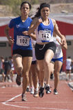 Athletics. Female competition in athletics track royalty free stock photography