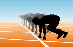 Athletics. Sprinters waiting on start line,  graphic Royalty Free Stock Photography