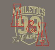 Athletics arming. Graphic design, writing, and 99-digit athletic badges Royalty Free Stock Images