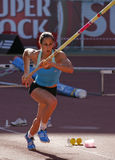 Athletics Championship, Marta Onofre. LEIRIA, PORTUGAL - JULY 18: Portuguese Athletics Championship, Marta Onofre (IND) pole vault women , July 18, 2010 in Royalty Free Stock Images