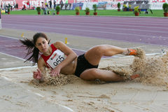 Athletics Championship, Sonia Marques. LEIRIA, PORTUGAL - JULY 17: Portuguese Athletics Championship, Sonia Marques (SCB) triple jump women , July 17, 2010 in Stock Photography