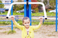 Athletics child . Classes at the gym Royalty Free Stock Photos