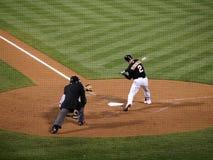 Athletics Cliff Pennington swings at pitch Stock Image