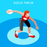 Athletics Discus Throw Summer Games Icon Set.3D Isometric Athlete.Sporting Championship International Competition. Sport Infographic Discus Throw Athletics Stock Images