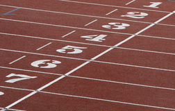 Athletics field. A part of athletics field with the numbers on it Stock Images