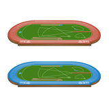 Athletics Field with Running Tracks 3D Perspective Royalty Free Stock Photos