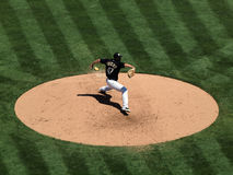 Athletics Gio Gonzalez steps to throw pitch Royalty Free Stock Photos