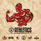 Athletics, gym labels collection Royalty Free Stock Photo