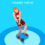 Athletics Hammer Throw Summer Games Icon Set.3D Isometric Athlete.Sporting Championship International Competition. Sport Infographic Hammer Throw Athletics Royalty Free Stock Photo