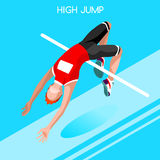 Athletics High Jump Summer Games Icon Set.3D Isometric Athlete.Sporting Championship International Athletics Competition. Royalty Free Stock Images
