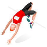 Athletics High Jump Summer Games Icon Set.3D Isometric Athlete.Sporting. Championship International Athletics Competition.Olympics Sport Infographic Athletics Royalty Free Stock Photo