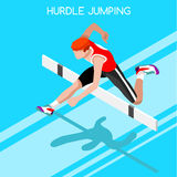 Athletics Hurdle Jumping Summer Games Icon Set.3D Isometric Athlete.Olympics Sporting Championship International Athletics. Competition.Sport Infographic Stock Photo
