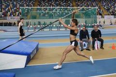 Athletics. ISTANBUL, TURKEY - FEBRUARY 14, 2015: Athlete Elmas Seda Firtina pole vaulting during Turkcell Juniors and Seniors Athletics Turkey Indoor Stock Photo