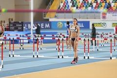 Athletics. ISTANBUL, TURKEY - FEBRUARY 01, 2015: Athlete Nursena Sengoz high jump during Turkish Athletic Federation Olympic Threshold Indoor Competitions in Stock Images