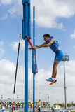 Athletics. Istanbul, Turkey - September 19, 2015: Slovakian athlete Hudoklin Jure is looking at his pole during a pole jump attempt during European Champions Royalty Free Stock Image