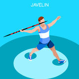 Athletics Javelin Summer Games Icon Set.3D Isometric Athlete.Sporting Championship International Athletics Competition. Royalty Free Stock Image