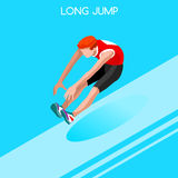 Athletics Long Jump Summer Games Icon Set.3D Isometric Athlete.Sporting Championship International Athletics Competition Stock Image