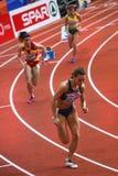Athletics - 400m Woman - SALASKI Tamara. BELGRADE, SERBIA - MARCH 3-5, 2017: 400m SALASKI Tamara Woman Round 1, European Athletics Indoor Championships in Royalty Free Stock Photography