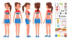 Athletics Player Female Vector. Competition Concept. Energetic People. High Jump. Doing Different Track. Athlete vector illustration