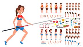 Athletics Player Male, Female Vector. Athlete Animated Character Creation Set. Man, Woman Full Length, Front, Side, Back. View, Accessories, Poses, Face stock illustration