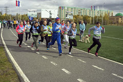 Athletics race students Stock Images