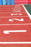 Athletics Red Track Lane Numbers Royalty Free Stock Photo