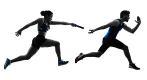Athletics relay runners sprinters running runners isolated silho Stock Images
