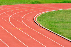 Athletics Running Track. Details of an athletics running track, turning right Stock Images