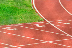 Athletics Running Track. Detail of an athletics running track Royalty Free Stock Photos