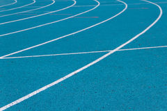 Athletics running track. On the curve stock image