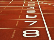 Athletics running track start finish line Stock Image