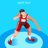 Athletics Shot Put Summer Games Icon Set.3D Isometric. Athlete.Sporting Championship International Competition.Sport Infographic Shot Put Athletics Vector Royalty Free Stock Photo